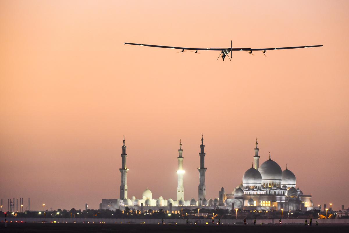 Fourth Test Flight with Bertrand Piccard with Solar Impulse 2 in Abu Dhabi, United Arab Emirates