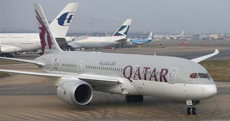 Qatar Airways new Boeing 787 Dreamliner taxis after arriving on it's inaugural flight to Heathrow Airport, west London