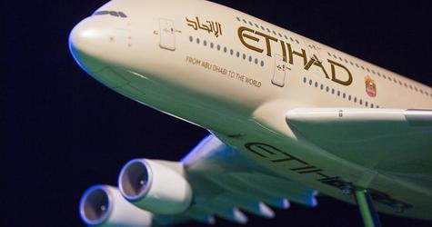 A model Etihad Airways plane is seen before the unveiling of New York City FC's new home jersey in New York