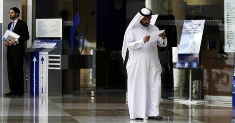 A man walks in Exhibitions Central in Dubai