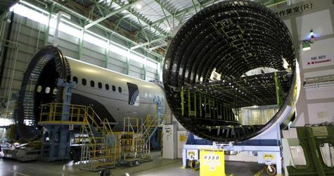Boeing 787 Dreamliner airplane forward fuselages made from carbon fiber composite supplied by Toray Industries, are seen inside Kawasaki Heavy Industries' manufacturing plant in Yatomi