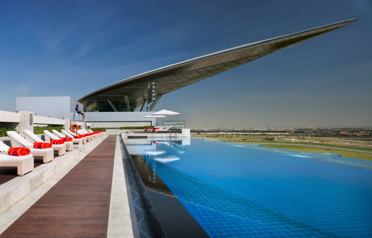 The Meydan Hotel in Dubai is the first five-star trackside hotel in the world
