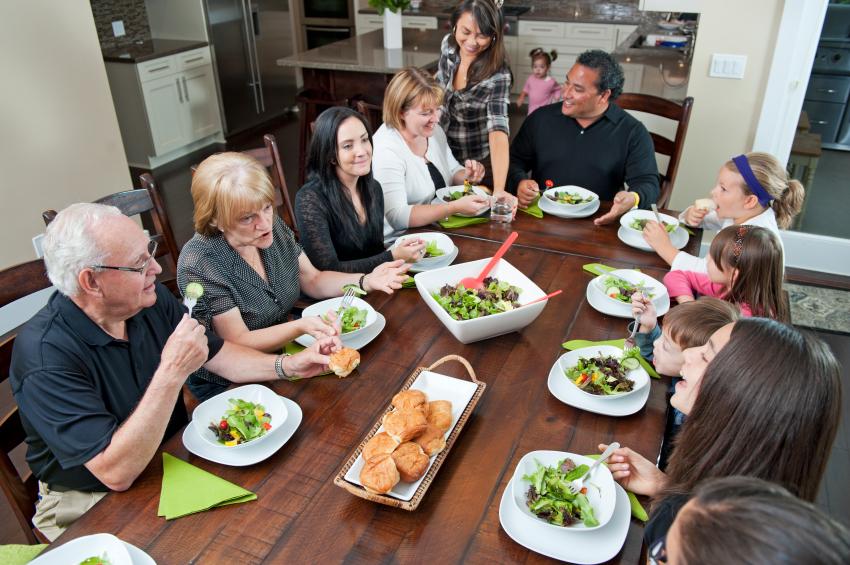Family Dinner From Above