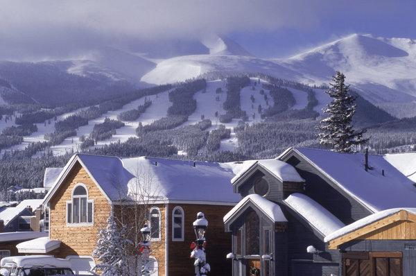 Town w/ ski area in background, Breckenridge, CO