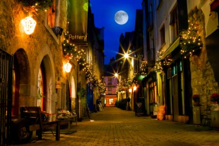 old Galway city street,Kerwan's Lane,decorated with christmass lights,night scene