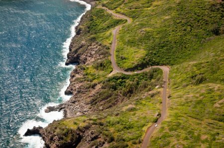 Kahekili highway winding along Maui  island coast