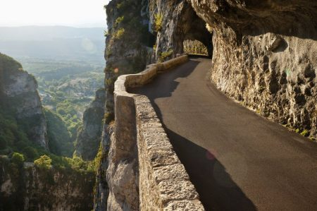 Road mountain along Gorges du Nan in Vercors, Isere, France