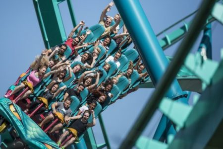 TORONTO, ON - August 23: Canada Wonderland's newest roller coaster, Leviathan, is the tallest and fastest in Canada. It boasts an initial drop of 80 degrees while reaches speeds of 148 km/h.        (Randy Risling/Toronto Star via Getty Images)