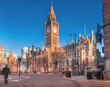 Manchester, England. A view of Manchester Town Hall that it is located in Albert Square.