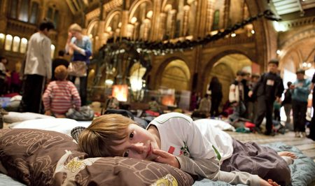 A child settling down for the night at Dino Snores