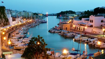 Boat Harbor In Ciutadella In A Balearic Isl Spain HD Desktop Background