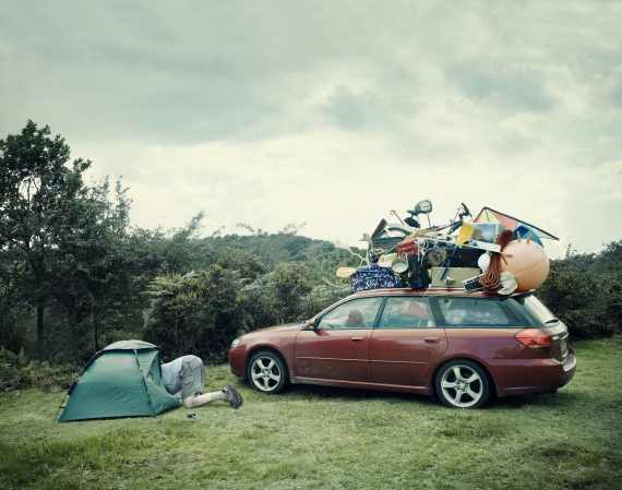 Car overloaded with camping gear